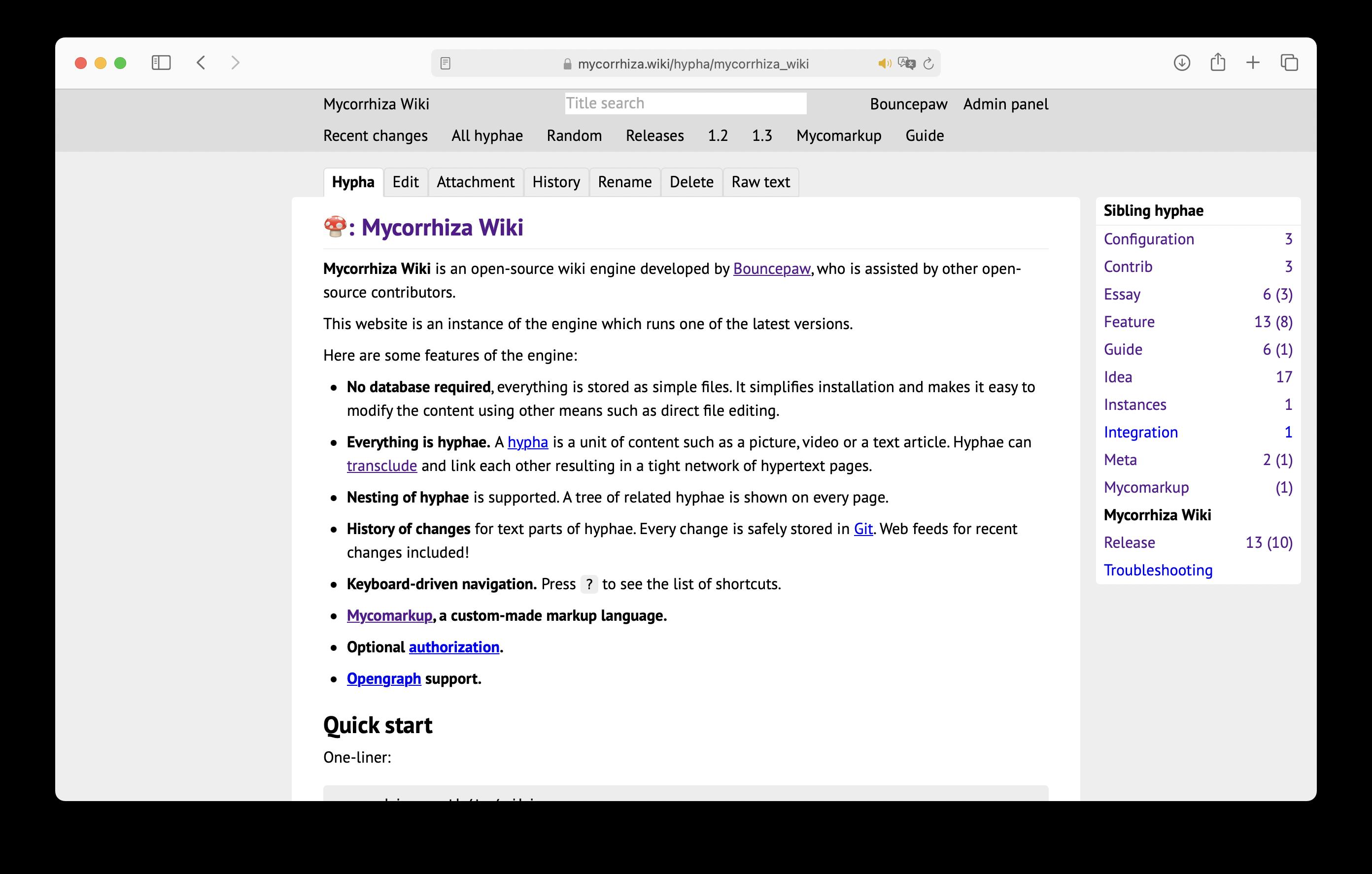 A screenshot of mycorrhiza.wiki's home page in the Safari browser